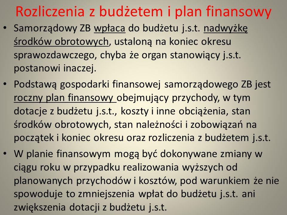 Rozliczenia z budżetem i plan finansowy Samorządowy ZB wpłaca do budżetu j.s.t. nadwyżkę środków obrotowych, ustaloną na koniec okresu sprawozdawczego