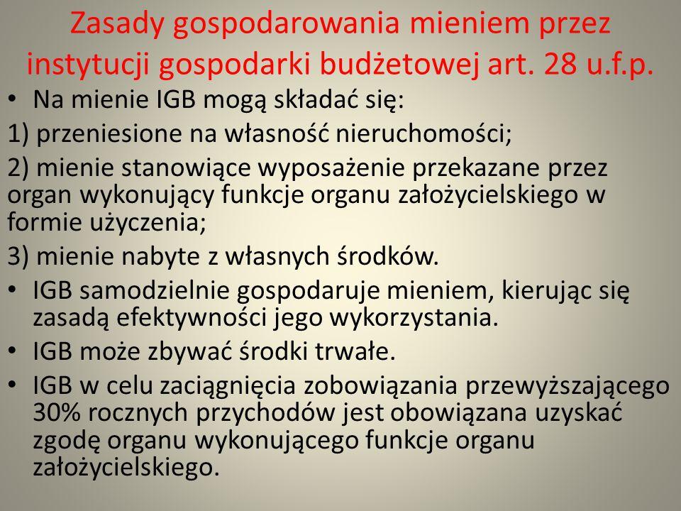 Zasady gospodarowania mieniem przez instytucji gospodarki budżetowej art. 28 u.f.p. Na mienie IGB mogą składać się: 1) przeniesione na własność nieruc