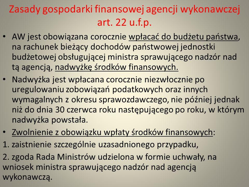 Zasady gospodarki finansowej agencji wykonawczej art. 22 u.f.p. AW jest obowiązana corocznie wpłacać do budżetu państwa, na rachunek bieżący dochodów