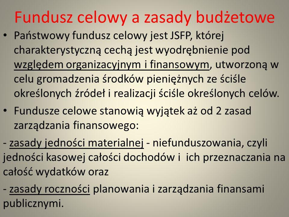 Fundusz celowy a zasady budżetowe Państwowy fundusz celowy jest JSFP, której charakterystyczną cechą jest wyodrębnienie pod względem organizacyjnym i
