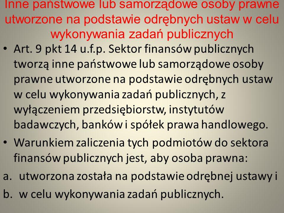 Inne państwowe lub samorządowe osoby prawne utworzone na podstawie odrębnych ustaw w celu wykonywania zadań publicznych Art. 9 pkt 14 u.f.p. Sektor fi