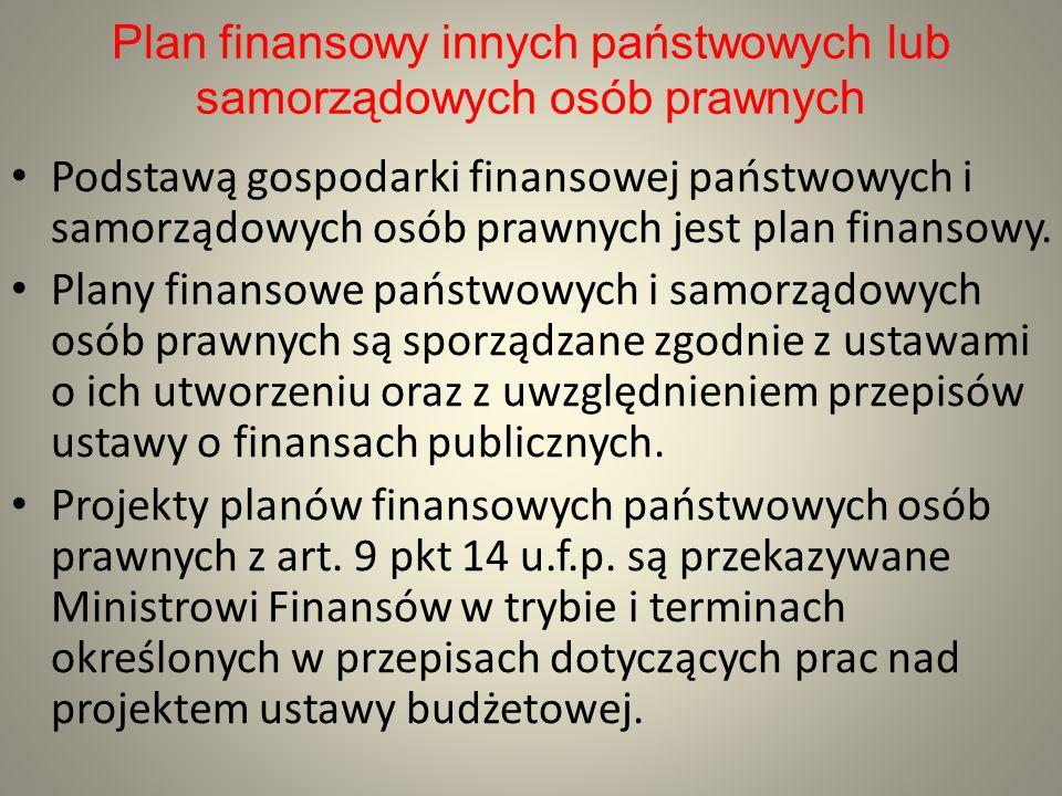 Plan finansowy innych państwowych lub samorządowych osób prawnych Podstawą gospodarki finansowej państwowych i samorządowych osób prawnych jest plan f