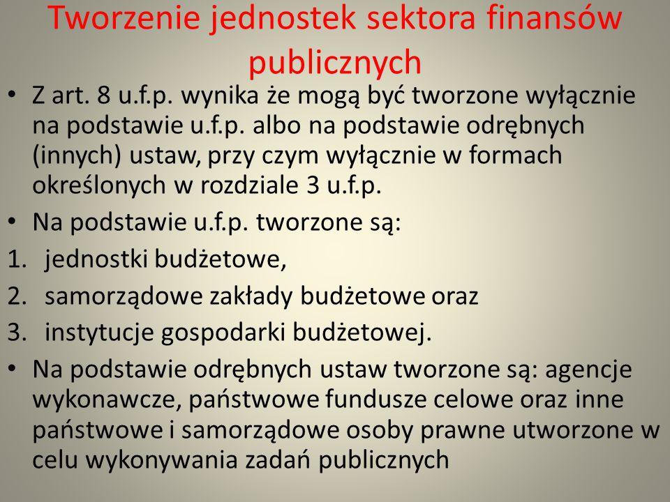 Tworzenie jednostek sektora finansów publicznych Z art. 8 u.f.p. wynika że mogą być tworzone wyłącznie na podstawie u.f.p. albo na podstawie odrębnych