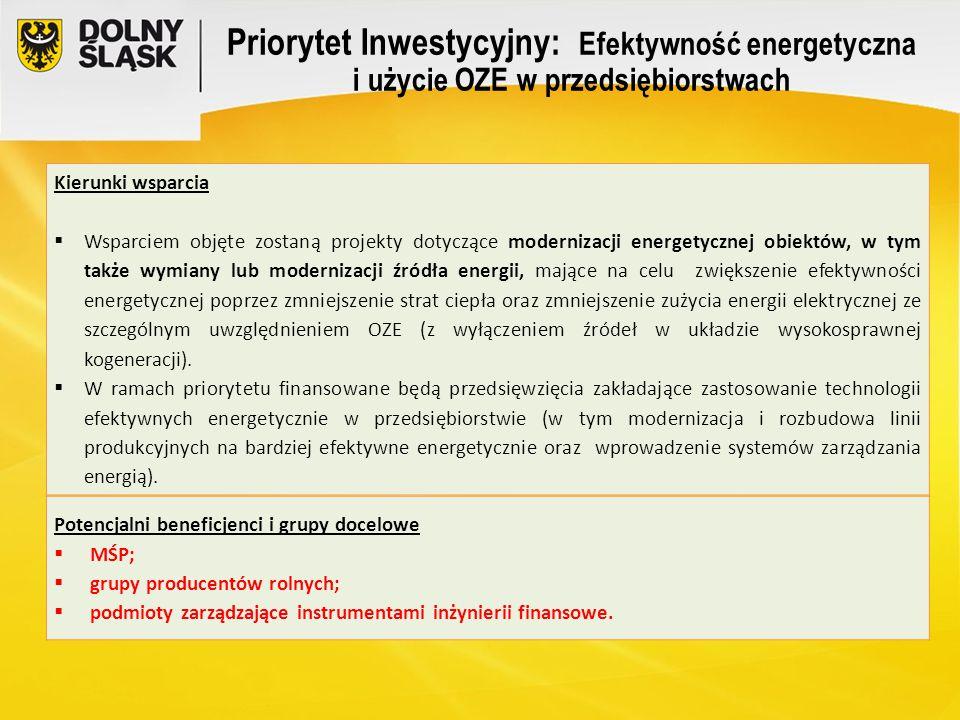 Priorytet Inwestycyjny: Efektywność energetyczna i użycie OZE w przedsiębiorstwach Kierunki wsparcia  Wsparciem objęte zostaną projekty dotyczące mod