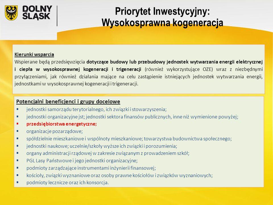 Priorytet Inwestycyjny: Wysokosprawna kogeneracja Kierunki wsparcia Wspierane będą przedsięwzięcia dotyczące budowy lub przebudowy jednostek wytwarzan