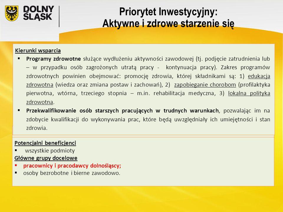 Priorytet Inwestycyjny: Aktywne i zdrowe starzenie się Kierunki wsparcia  Programy zdrowotne służące wydłużeniu aktywności zawodowej (tj. podjęcie za