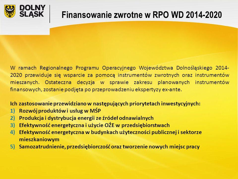 Finansowanie zwrotne w RPO WD 2014-2020 W ramach Regionalnego Programu Operacyjnego Województwa Dolnośląskiego 2014- 2020 przewiduje się wsparcie za p