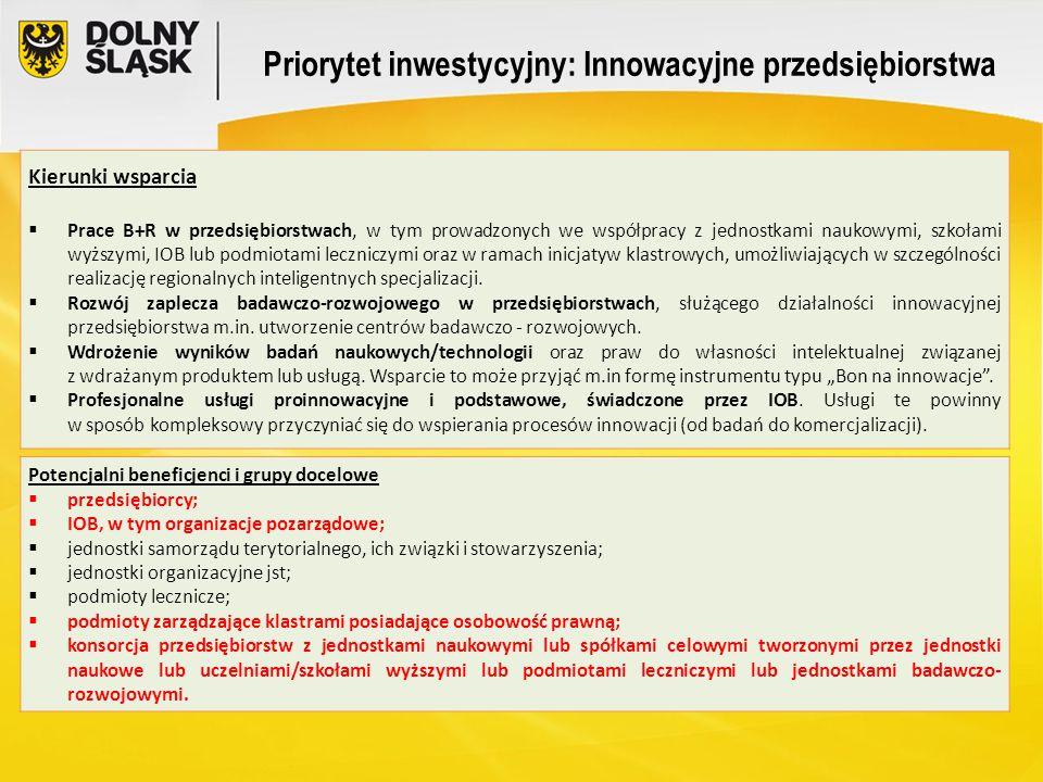 Priorytet inwestycyjny: Innowacyjne przedsiębiorstwa Kierunki wsparcia  Prace B+R w przedsiębiorstwach, w tym prowadzonych we współpracy z jednostkam