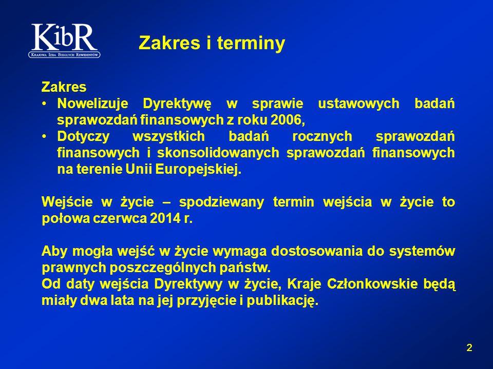 2 2 Zakres i terminy Zakres Nowelizuje Dyrektywę w sprawie ustawowych badań sprawozdań finansowych z roku 2006, Dotyczy wszystkich badań rocznych sprawozdań finansowych i skonsolidowanych sprawozdań finansowych na terenie Unii Europejskiej.
