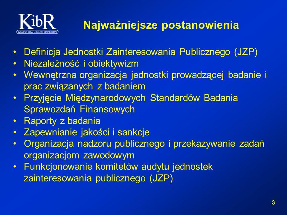3 3 Definicja Jednostki Zainteresowania Publicznego (JZP) Niezależność i obiektywizm Wewnętrzna organizacja jednostki prowadzącej badanie i prac związanych z badaniem Przyjęcie Międzynarodowych Standardów Badania Sprawozdań Finansowych Raporty z badania Zapewnianie jakości i sankcje Organizacja nadzoru publicznego i przekazywanie zadań organizacjom zawodowym Funkcjonowanie komitetów audytu jednostek zainteresowania publicznego (JZP) Najważniejsze postanowienia
