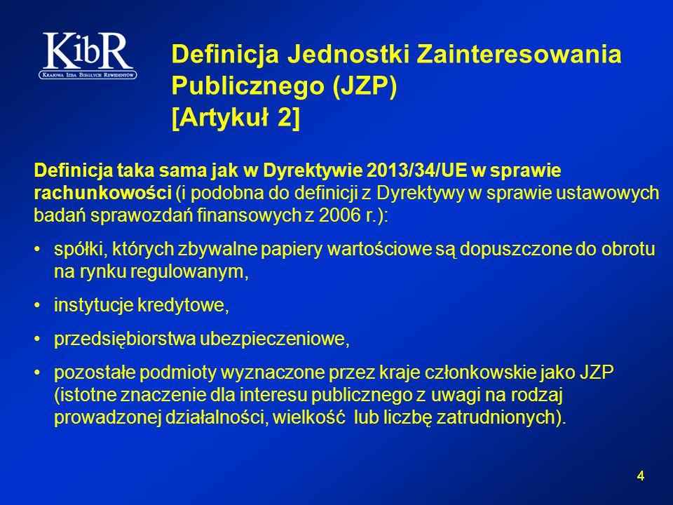 4 4 Definicja Jednostki Zainteresowania Publicznego (JZP) [Artykuł 2] Definicja taka sama jak w Dyrektywie 2013/34/UE w sprawie rachunkowości (i podobna do definicji z Dyrektywy w sprawie ustawowych badań sprawozdań finansowych z 2006 r.): spółki, których zbywalne papiery wartościowe są dopuszczone do obrotu na rynku regulowanym, instytucje kredytowe, przedsiębiorstwa ubezpieczeniowe, pozostałe podmioty wyznaczone przez kraje członkowskie jako JZP (istotne znaczenie dla interesu publicznego z uwagi na rodzaj prowadzonej działalności, wielkość lub liczbę zatrudnionych).