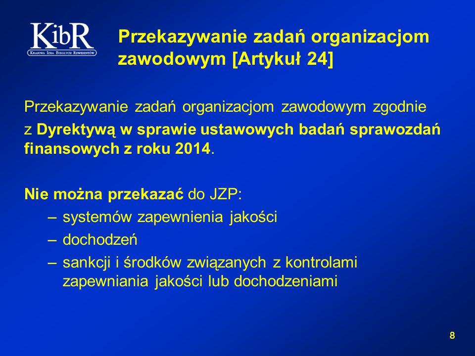 8 8 Przekazywanie zadań organizacjom zawodowym [Artykuł 24] Przekazywanie zadań organizacjom zawodowym zgodnie z Dyrektywą w sprawie ustawowych badań sprawozdań finansowych z roku 2014.