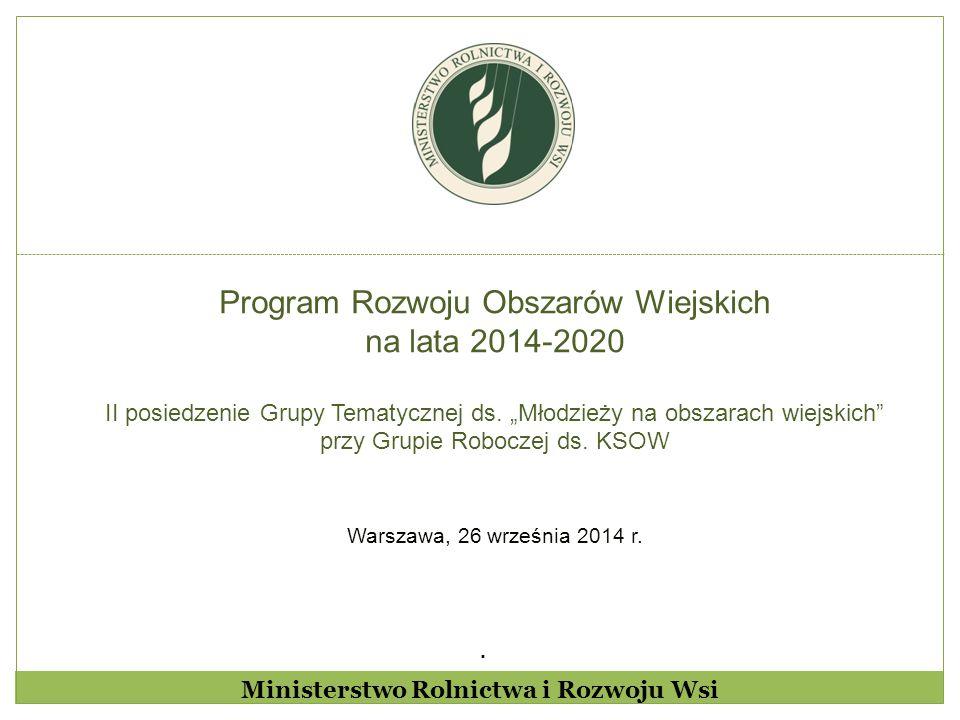 """. Program Rozwoju Obszarów Wiejskich na lata 2014-2020 II posiedzenie Grupy Tematycznej ds. """"Młodzieży na obszarach wiejskich"""" przy Grupie Roboczej ds"""