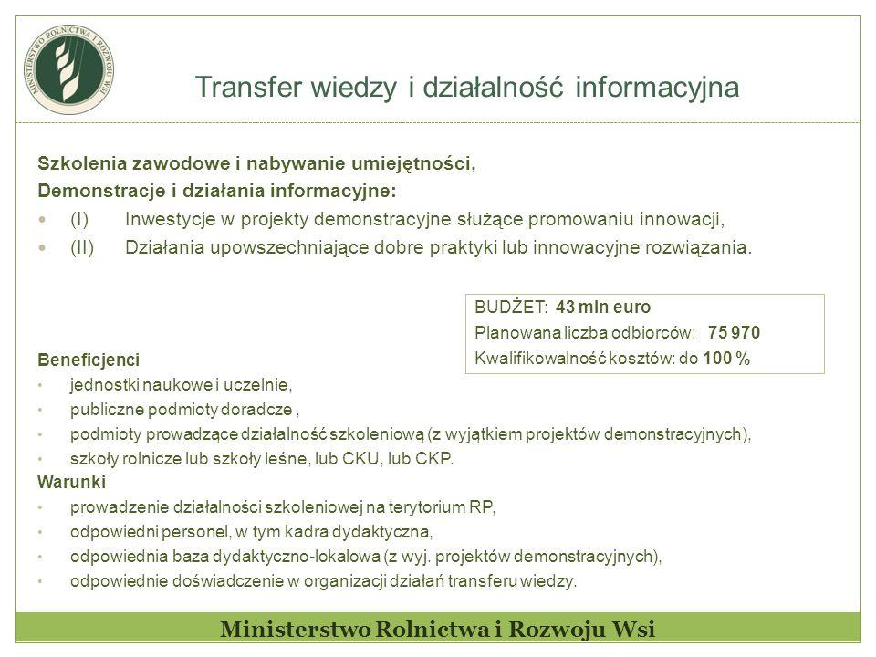 Transfer wiedzy i działalność informacyjna Ministerstwo Rolnictwa i Rozwoju Wsi Szkolenia zawodowe i nabywanie umiejętności, Demonstracje i działania