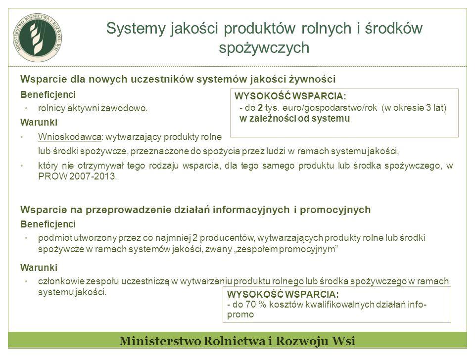 Systemy jakości produktów rolnych i środków spożywczych Ministerstwo Rolnictwa i Rozwoju Wsi Wsparcie dla nowych uczestników systemów jakości żywności