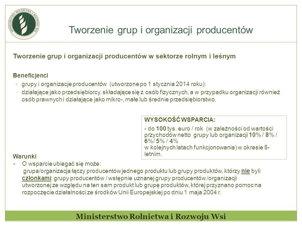 Tworzenie grup i organizacji producentów Ministerstwo Rolnictwa i Rozwoju Wsi Tworzenie grup i organizacji producentów w sektorze rolnym i leśnym Bene