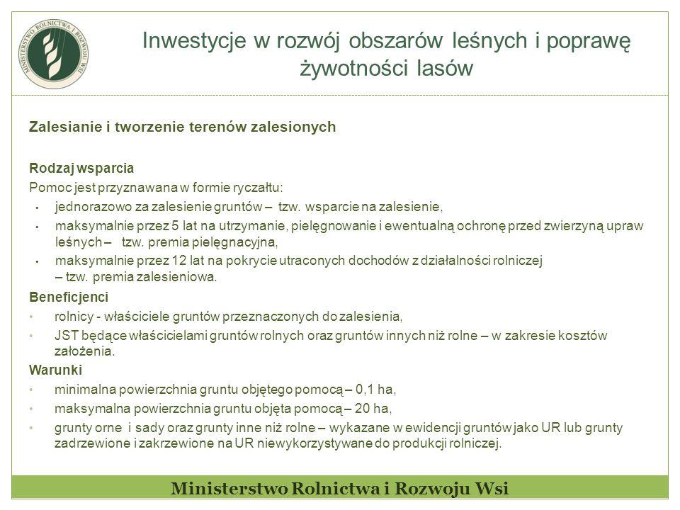 Inwestycje w rozwój obszarów leśnych i poprawę żywotności lasów Ministerstwo Rolnictwa i Rozwoju Wsi Zalesianie i tworzenie terenów zalesionych Rodzaj
