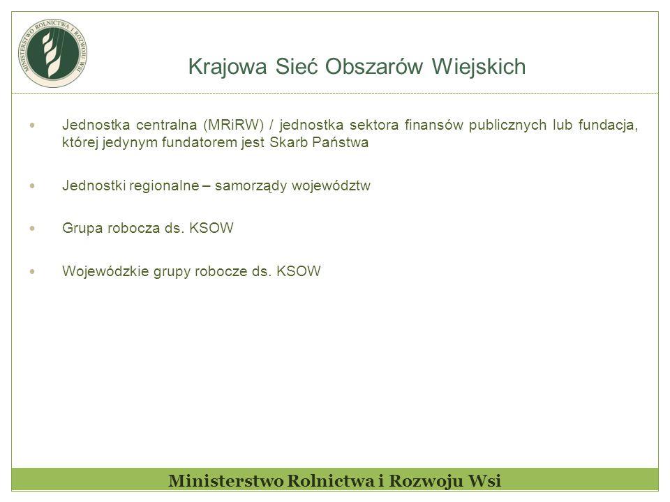 Krajowa Sieć Obszarów Wiejskich Ministerstwo Rolnictwa i Rozwoju Wsi Jednostka centralna (MRiRW) / jednostka sektora finansów publicznych lub fundacja