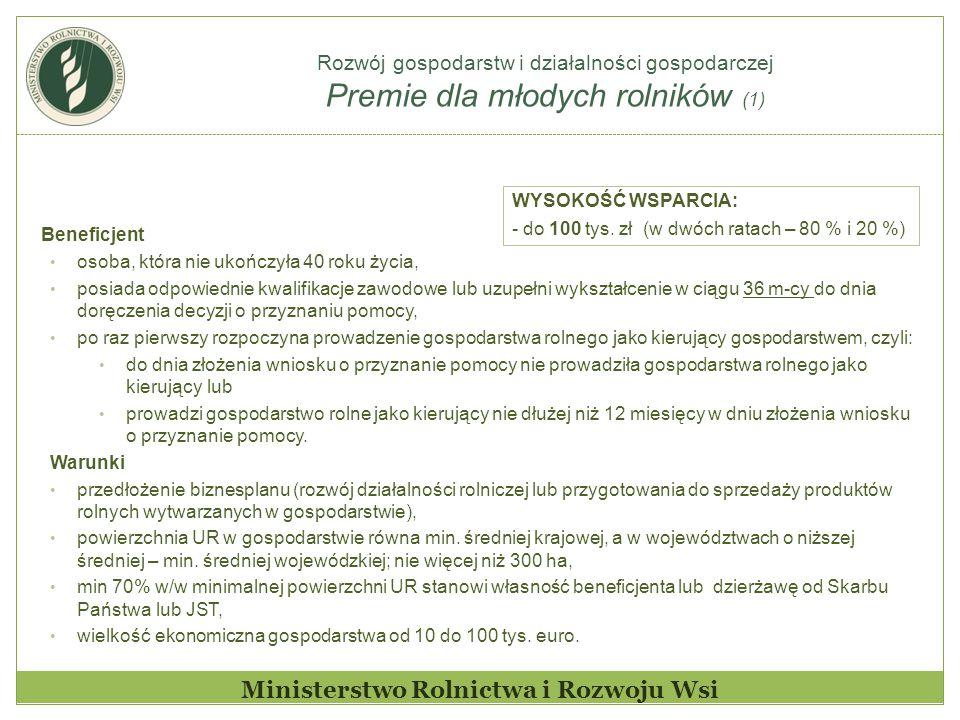 Rozwój gospodarstw i działalności gospodarczej Premie dla młodych rolników (1) Ministerstwo Rolnictwa i Rozwoju Wsi Beneficjent osoba, która nie ukońc