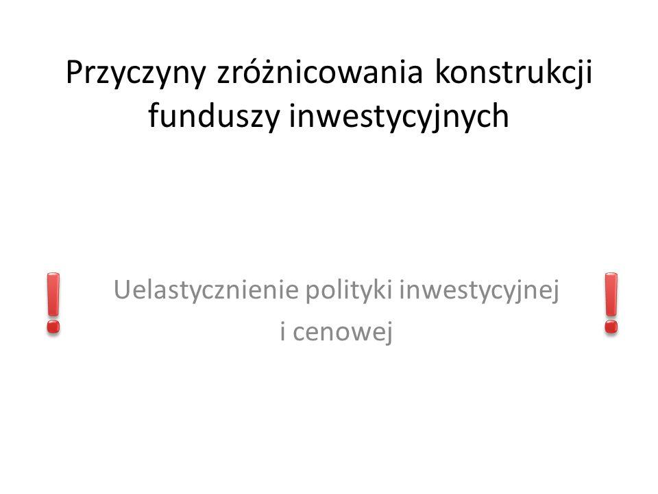 Przyczyny zróżnicowania konstrukcji funduszy inwestycyjnych Uelastycznienie polityki inwestycyjnej i cenowej