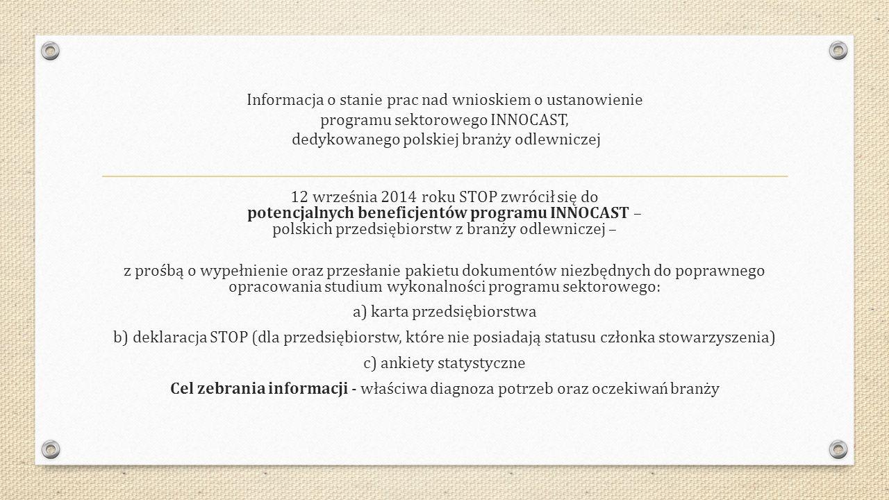 Informacja o stanie prac nad wnioskiem o ustanowienie programu sektorowego INNOCAST, dedykowanego polskiej branży odlewniczej 12 września 2014 roku ST
