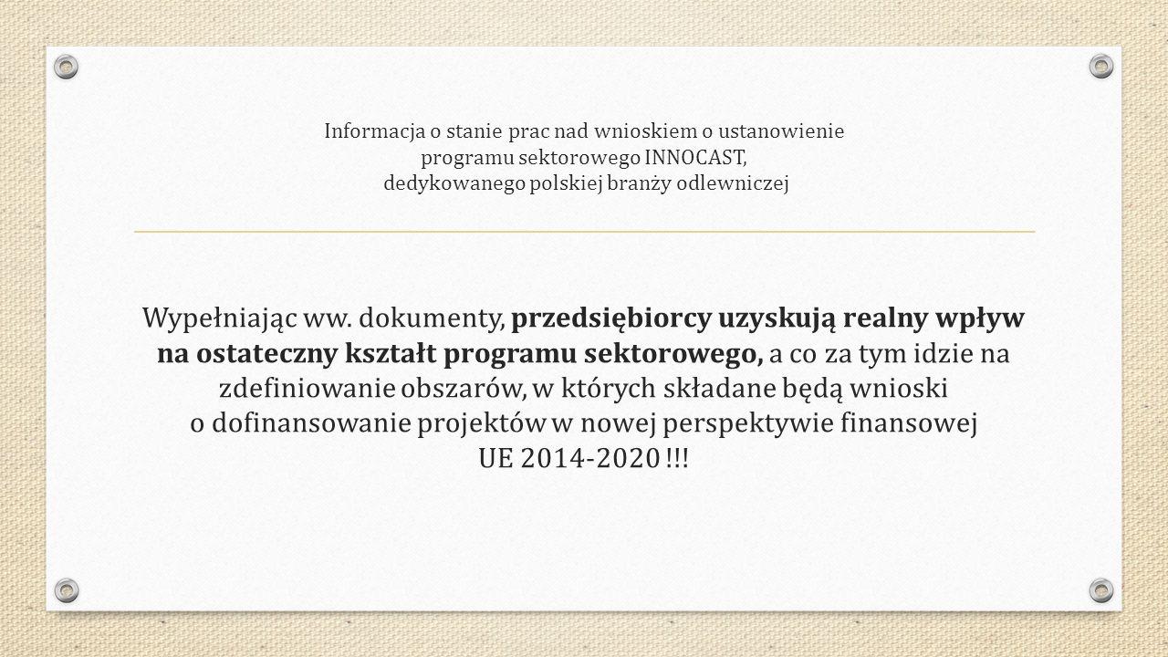 Informacja o stanie prac nad wnioskiem o ustanowienie programu sektorowego INNOCAST, dedykowanego polskiej branży odlewniczej Wypełniając ww.