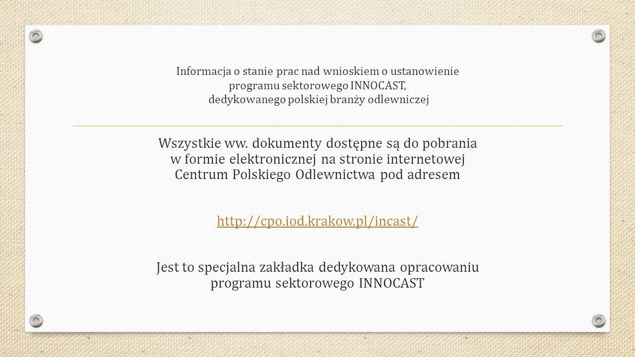 Informacja o stanie prac nad wnioskiem o ustanowienie programu sektorowego INNOCAST, dedykowanego polskiej branży odlewniczej Wszystkie ww. dokumenty