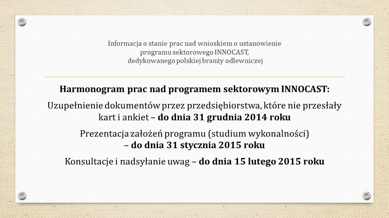 Informacja o stanie prac nad wnioskiem o ustanowienie programu sektorowego INNOCAST, dedykowanego polskiej branży odlewniczej Harmonogram prac nad programem sektorowym INNOCAST: Uzupełnienie dokumentów przez przedsiębiorstwa, które nie przesłały kart i ankiet – do dnia 31 grudnia 2014 roku Prezentacja założeń programu (studium wykonalności) – do dnia 31 stycznia 2015 roku Konsultacje i nadsyłanie uwag – do dnia 15 lutego 2015 roku
