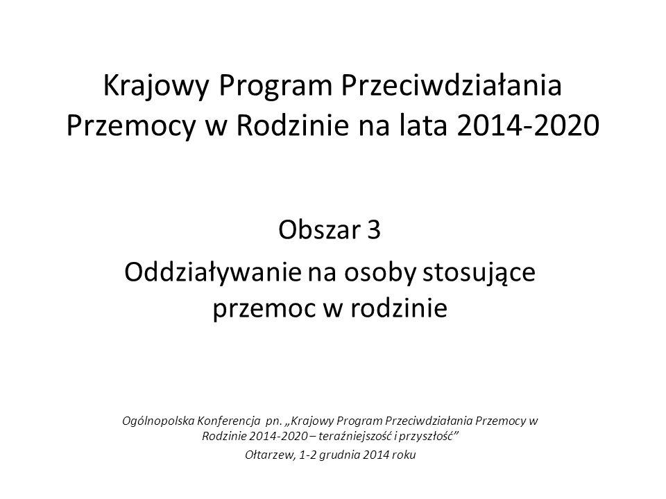 Krajowy Program Przeciwdziałania Przemocy w Rodzinie na lata 2014-2020 Obszar 3 Oddziaływanie na osoby stosujące przemoc w rodzinie Ogólnopolska Konferencja pn.