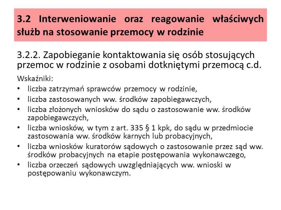 3.2 Interweniowanie oraz reagowanie właściwych służb na stosowanie przemocy w rodzinie 3.2.2.