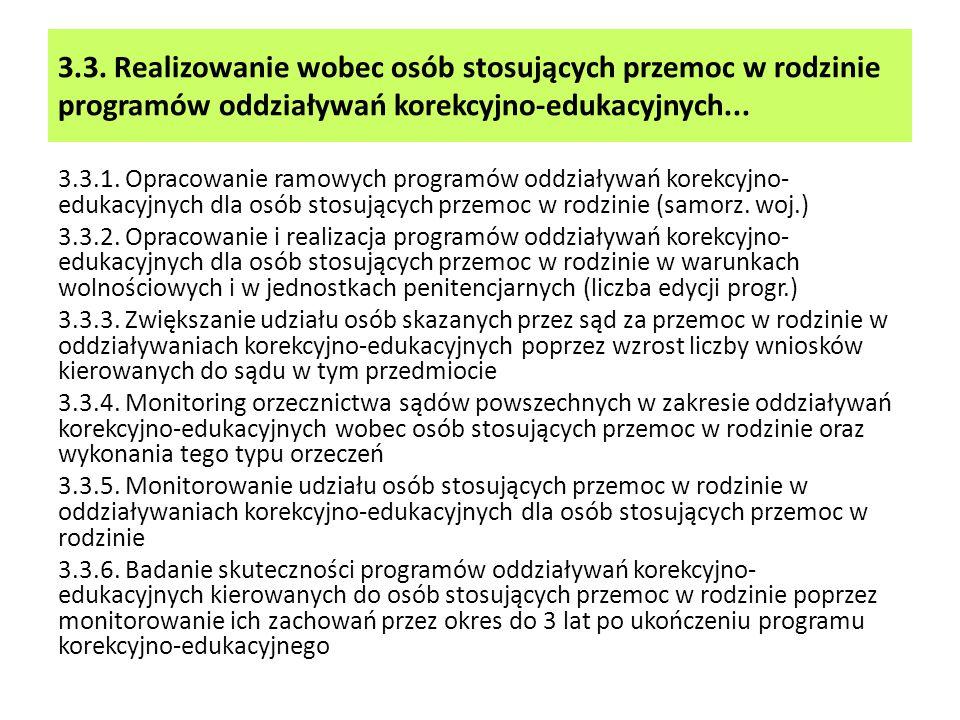 3.3. Realizowanie wobec osób stosujących przemoc w rodzinie programów oddziaływań korekcyjno-edukacyjnych... 3.3.1. Opracowanie ramowych programów odd