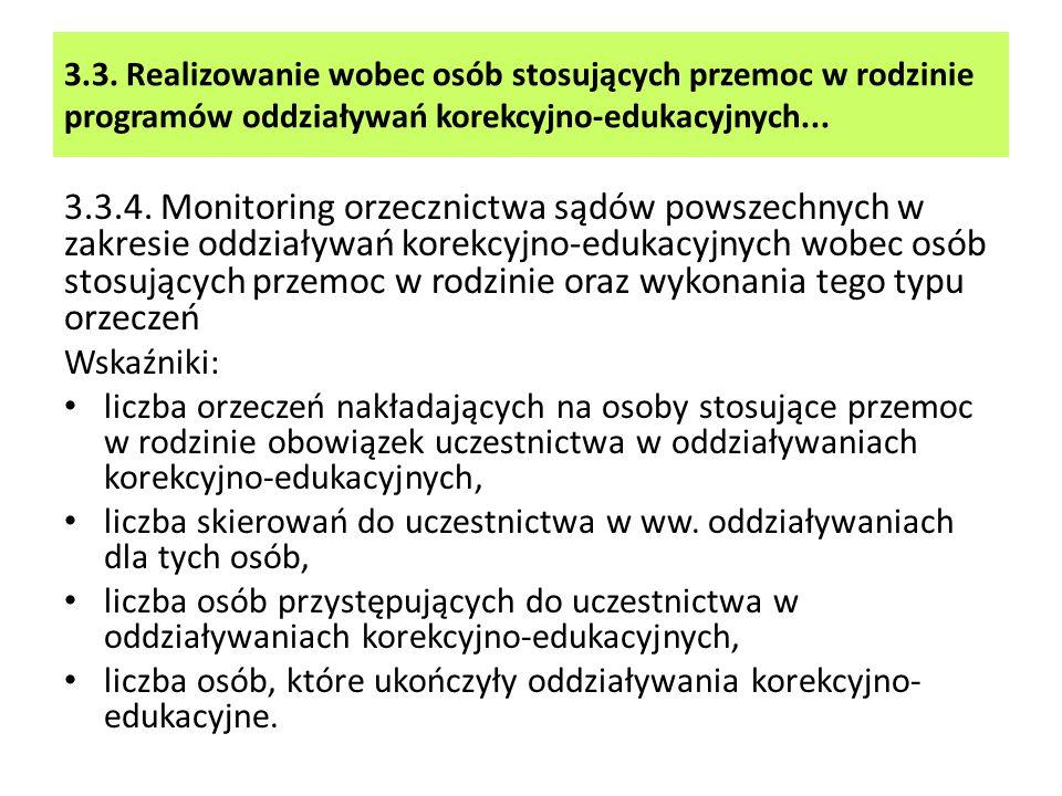 3.3. Realizowanie wobec osób stosujących przemoc w rodzinie programów oddziaływań korekcyjno-edukacyjnych... 3.3.4. Monitoring orzecznictwa sądów pows