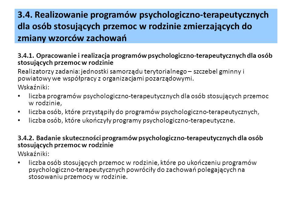 3.4. Realizowanie programów psychologiczno-terapeutycznych dla osób stosujących przemoc w rodzinie zmierzających do zmiany wzorców zachowań 3.4.1. Opr
