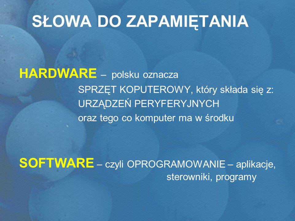 SŁOWA DO ZAPAMIĘTANIA HARDWARE – polsku oznacza SPRZĘT KOPUTEROWY, który składa się z: URZĄDZEŃ PERYFERYJNYCH oraz tego co komputer ma w środku SOFTWA