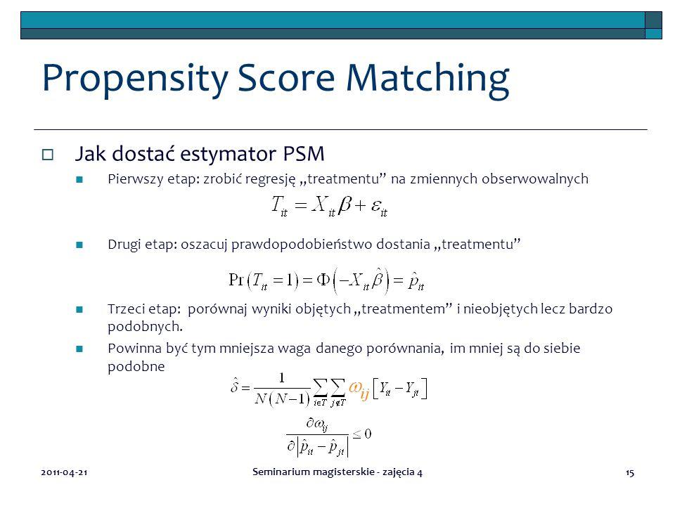 """Propensity Score Matching  Jak dostać estymator PSM Pierwszy etap: zrobić regresję """"treatmentu na zmiennych obserwowalnych Drugi etap: oszacuj prawdopodobieństwo dostania """"treatmentu Trzeci etap: porównaj wyniki objętych """"treatmentem i nieobjętych lecz bardzo podobnych."""