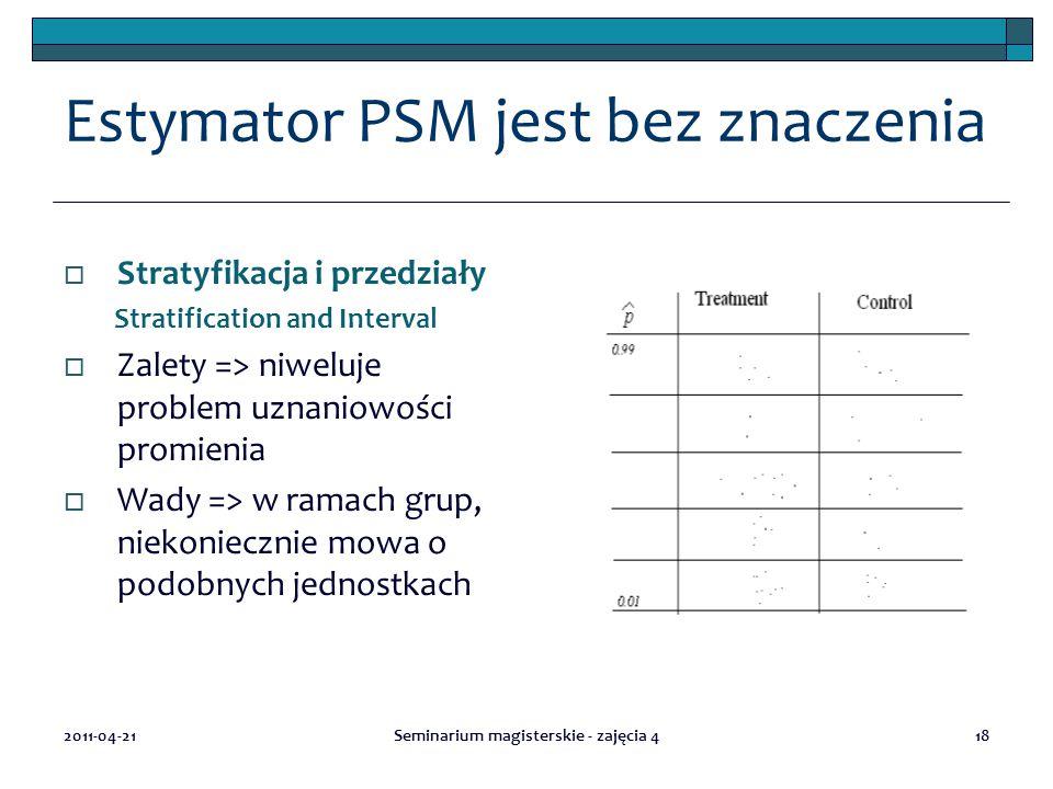 Estymator PSM jest bez znaczenia  Stratyfikacja i przedziały Stratification and Interval  Zalety => niweluje problem uznaniowości promienia  Wady => w ramach grup, niekoniecznie mowa o podobnych jednostkach 2011-04-21Seminarium magisterskie - zajęcia 418