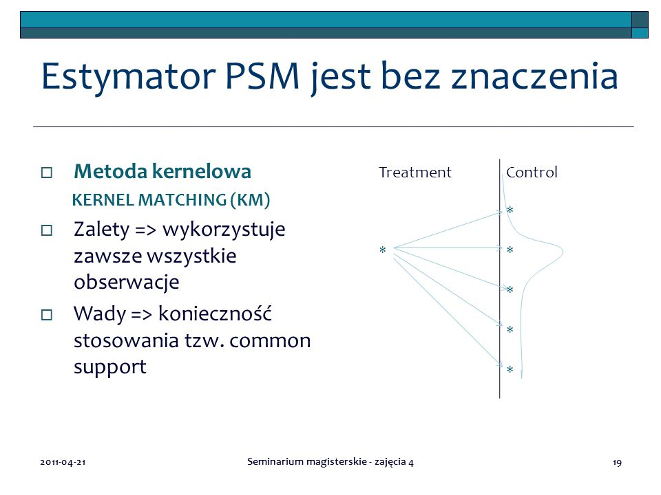 Estymator PSM jest bez znaczenia  Metoda kernelowa KERNEL MATCHING (KM)  Zalety => wykorzystuje zawsze wszystkie obserwacje  Wady => konieczność stosowania tzw.