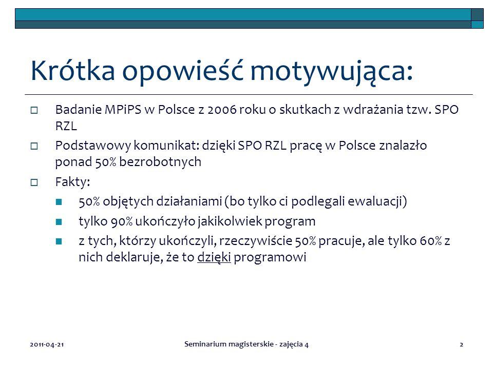 Krótka opowieść motywująca:  Badanie MPiPS w Polsce z 2006 roku o skutkach z wdrażania tzw.