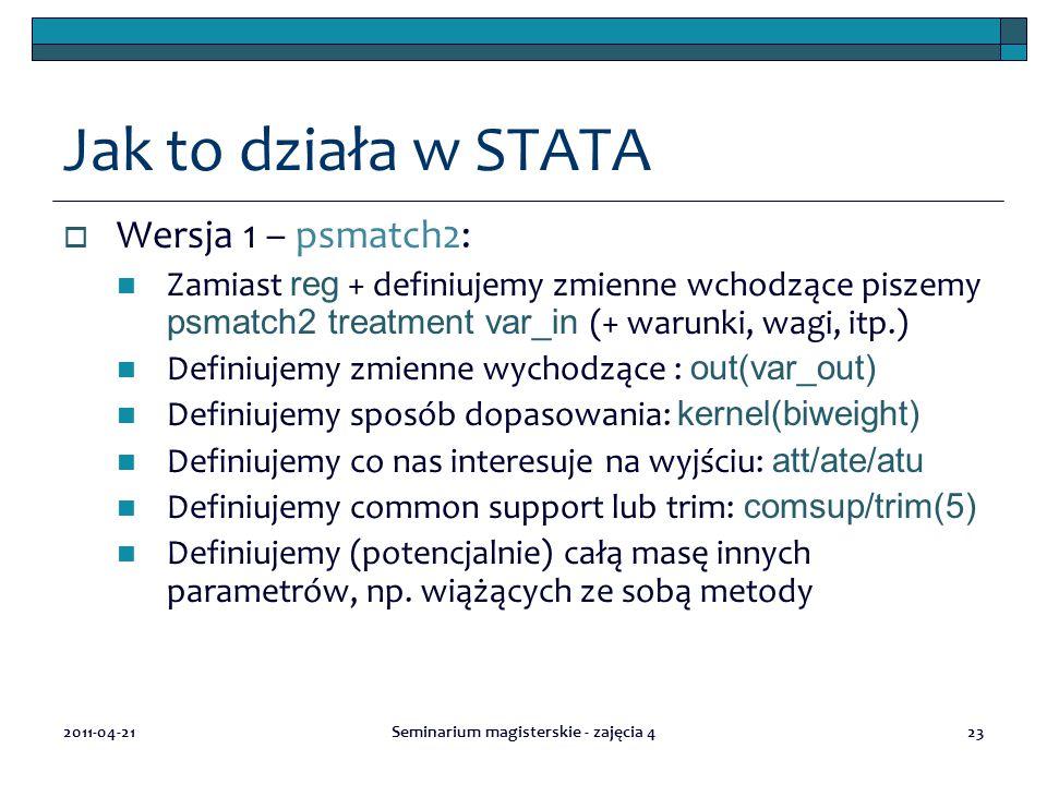 2011-04-21Seminarium magisterskie - zajęcia 423 Jak to działa w STATA  Wersja 1 – psmatch2: Zamiast reg + definiujemy zmienne wchodzące piszemy psmatch2 treatment var_in (+ warunki, wagi, itp.) Definiujemy zmienne wychodzące : out(var_out) Definiujemy sposób dopasowania: kernel(biweight) Definiujemy co nas interesuje na wyjściu: att/ate/atu Definiujemy common support lub trim: comsup/trim(5) Definiujemy (potencjalnie) całą masę innych parametrów, np.