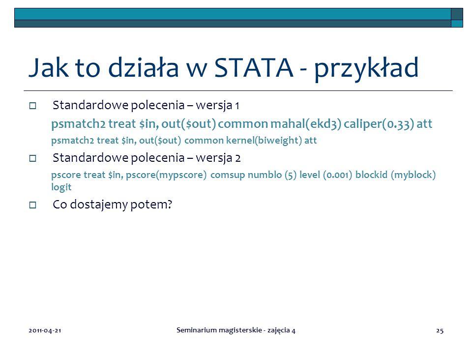 Jak to działa w STATA - przykład  Standardowe polecenia – wersja 1 psmatch2 treat $in, out($out) common mahal(ekd3) caliper(0.33) att psmatch2 treat $in, out($out) common kernel(biweight) att  Standardowe polecenia – wersja 2 pscore treat $in, pscore(mypscore) comsup numblo (5) level (0.001) blockid (myblock) logit  Co dostajemy potem.