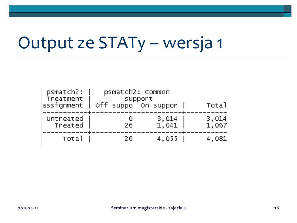 Output ze STATy – wersja 1 2011-04-21Seminarium magisterskie - zajęcia 426