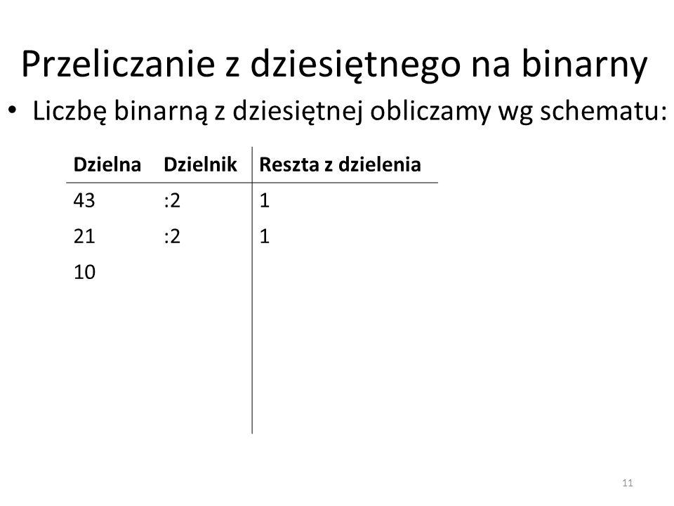 Przeliczanie z dziesiętnego na binarny Liczbę binarną z dziesiętnej obliczamy wg schematu: DzielnaDzielnikReszta z dzielenia 43:21 21:21 10 11