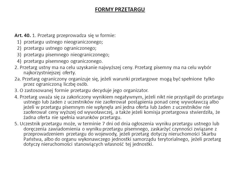 FORMY PRZETARGU Art.40. 1.