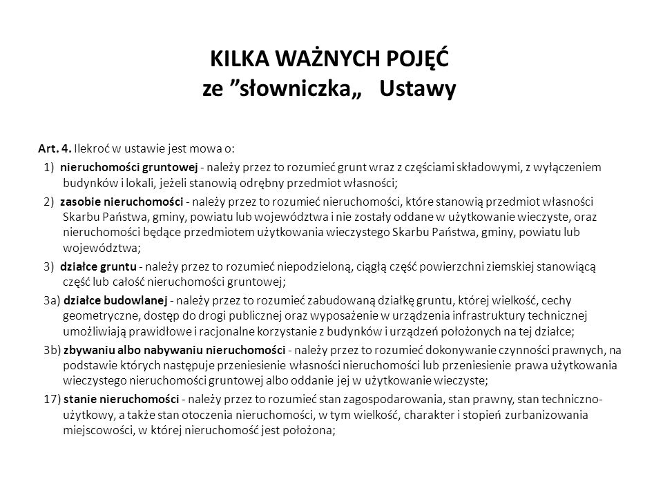"""KILKA WAŻNYCH POJĘĆ ze słowniczka"""" Ustawy Art.4."""