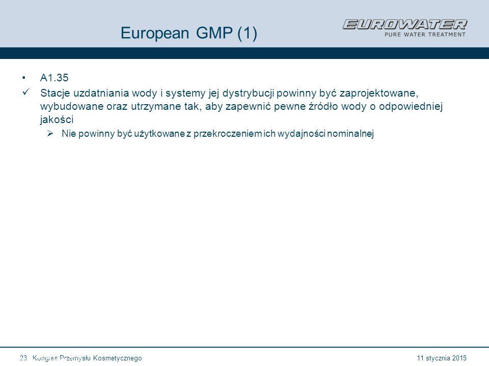 11 stycznia 2015Kongres Przemysłu Kosmetycznego23 Forum Walidacji ISPE Wrocław, 28-29 lutego 2012 European GMP (1) A1.35 Stacje uzdatniania wody i systemy jej dystrybucji powinny być zaprojektowane, wybudowane oraz utrzymane tak, aby zapewnić pewne źródło wody o odpowiedniej jakości  Nie powinny być użytkowane z przekroczeniem ich wydajności nominalnej