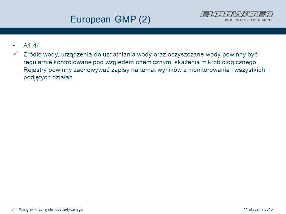 11 stycznia 2015Kongres Przemysłu Kosmetycznego24 Forum Walidacji ISPE Wrocław, 28-29 lutego 2012 European GMP (2) A1.44 Źródło wody, urządzenia do uzdatniania wody oraz oczyszczane wody powinny być regularnie kontrolowane pod względem chemicznym, skażenia mikrobiologicznego.