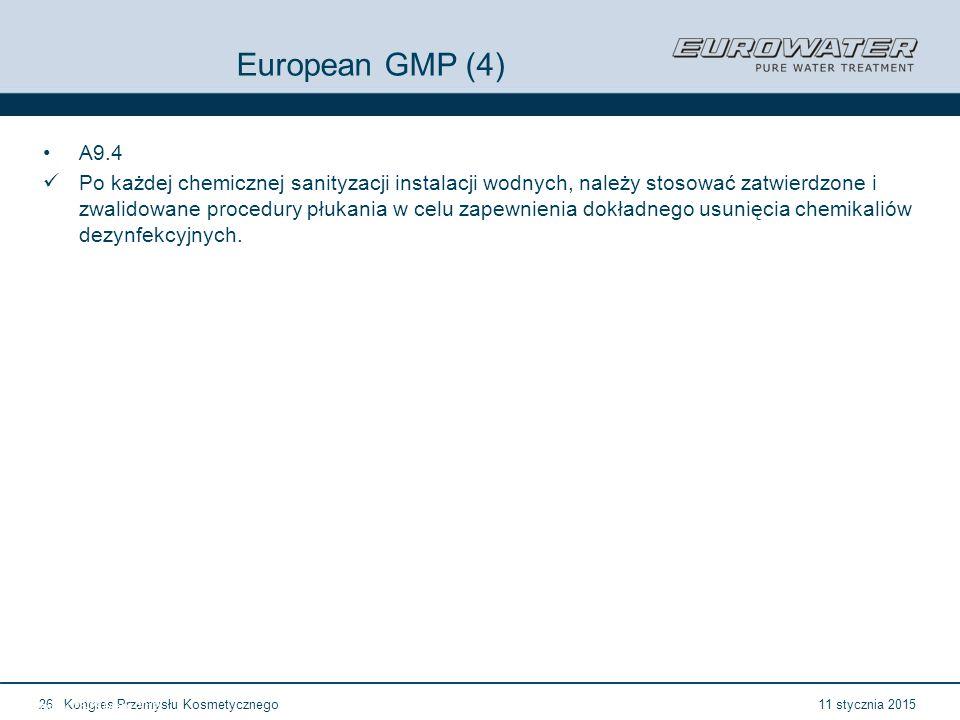 11 stycznia 2015Kongres Przemysłu Kosmetycznego26 Forum Walidacji ISPE Wrocław, 28-29 lutego 2012 European GMP (4) A9.4 Po każdej chemicznej sanityzacji instalacji wodnych, należy stosować zatwierdzone i zwalidowane procedury płukania w celu zapewnienia dokładnego usunięcia chemikaliów dezynfekcyjnych.