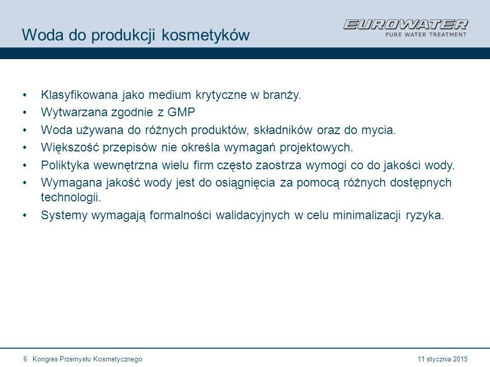 11 stycznia 2015Kongres Przemysłu Kosmetycznego6 Woda do produkcji kosmetyków Klasyfikowana jako medium krytyczne w branży.