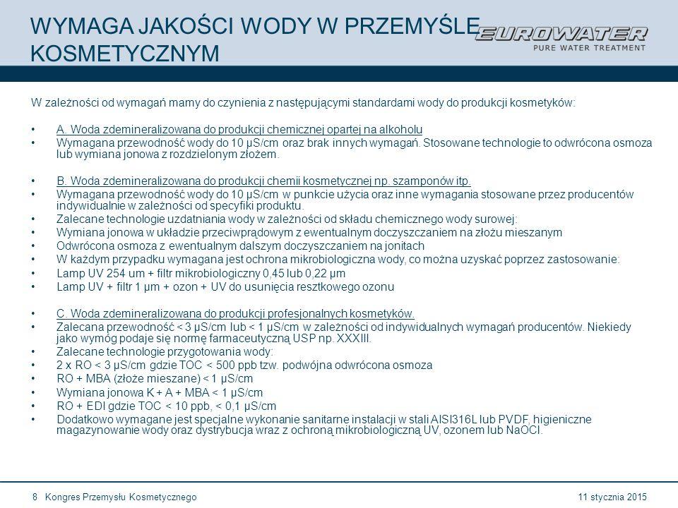 11 stycznia 2015Kongres Przemysłu Kosmetycznego29 Forum Walidacji ISPE Wrocław, 28-29 lutego 2012 21 CFR 211.65a Powierzchnie, które posiadają kontakt z surowcem nie powinny reagować, absorbować lub chłonąć czegokolwiek co mogłoby zmienić ich bezpieczeństwo, własności, skład, jakość lub czystość produktu finalnego