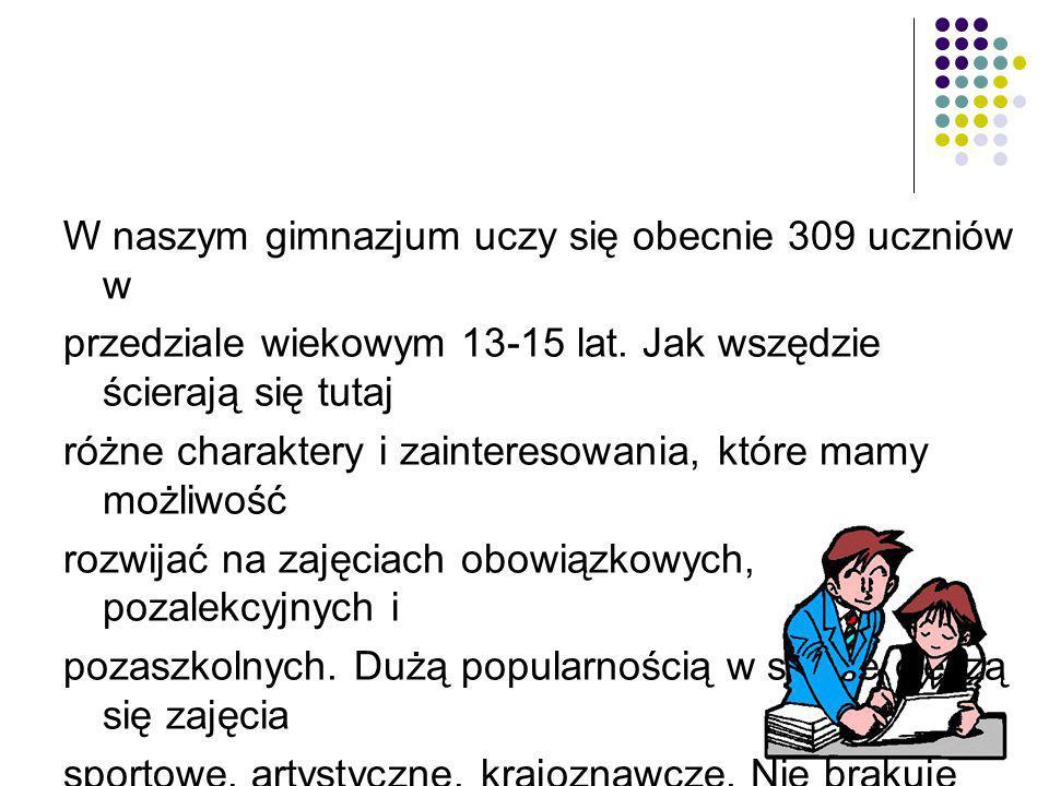 W naszym gimnazjum uczy się obecnie 309 uczniów w przedziale wiekowym 13-15 lat.